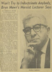 Newspaper article with photograph of Herbert Aptheker, a white-haired white man with horn-rimmed glasses