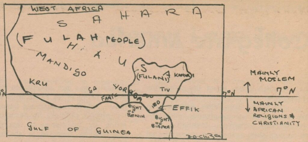 Hand-drawn pen-and-ink map of West Africa, featuring different peoples and geographic entities